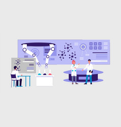 futuristic laboratory interior banner - cartoon vector image