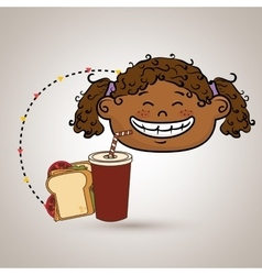 Girl fast food vector