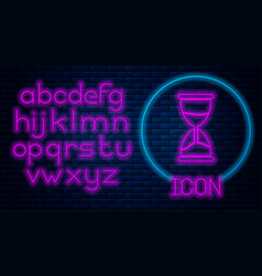 Glowing neon old hourglass with flowing sand icon vector