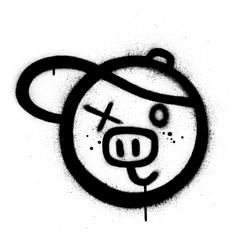 graffiti pig with baseball cap icon sprayed vector image