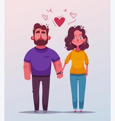 happy couple character design cartoon vector image