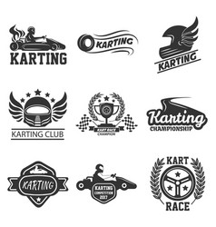 Karting club or kart races sport template vector