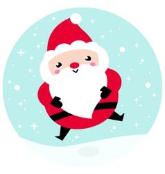 Kawaii Christmas Santa on snowing background vector image vector image