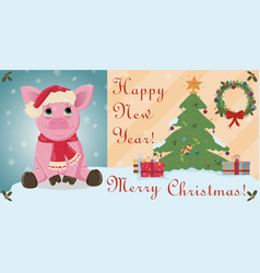 Layout cards for christmas and new year theme in vector