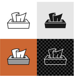 Line style tissue paper box icon vector