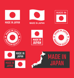 made in japan icon set japanese product labels vector image