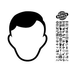 Man Face Template Flat Icon With Bonus vector