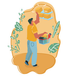 man with shopping market basket vector image