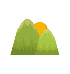 mountains and sun nature landscape vector image