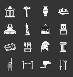 Museum icons set grey vector