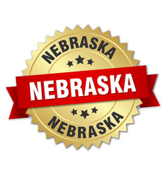 Nebraska round golden badge with red ribbon vector