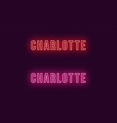 Neon name of charlotte city in usa text vector