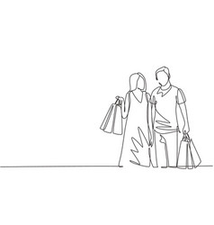 One single line drawing young happy romantic vector