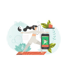 online yoga flat style design vector image