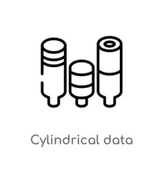 Outline cylindrical data graphic icon isolated vector