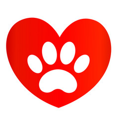 paw print on red heart icon logo symbol vector image