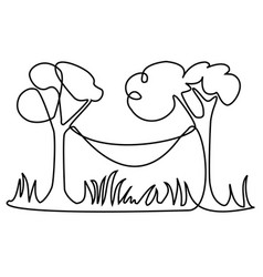 Picnic place one line drawing vector