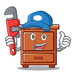 Plumber wooden drawer mascot cartoon vector