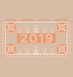 postcard ny2019 orange vector image