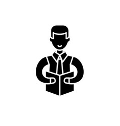 professor black icon sign on isolated vector image