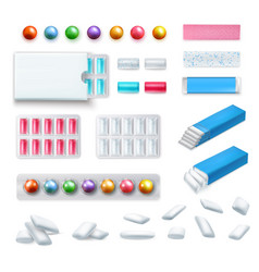 Realistic chewing gum set vector