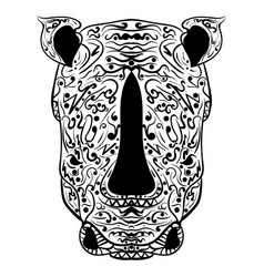rhino head zentangle stylized vector image