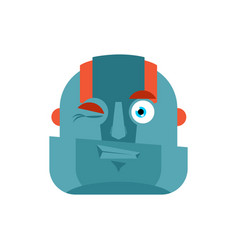 robot wink emoji cyborg merry emotions robotic vector image