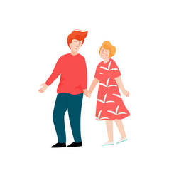 romantic couple walking holding hands happy vector image