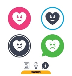 Sad heart face with tear icon Crying symbol vector image