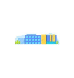 School building flat college house high education vector