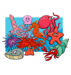 sea life group cartoon animal characters vector image