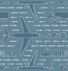 seamless pattern with airplanes and airport vehicl vector image
