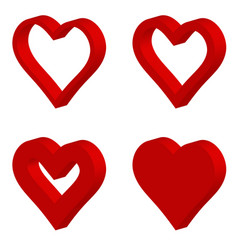 set 3d red shape heart icon heart vector image