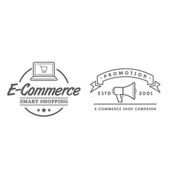 set e-commerce online shopping signs with icons vector image
