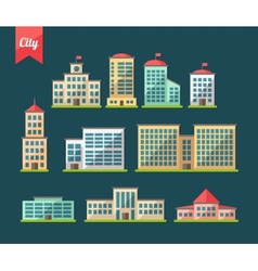 set flat design buildings icons vector image