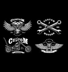 Set of 4 vintage biker on dark background 1 vector