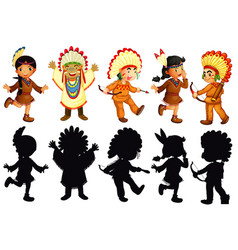set of native american character vector image