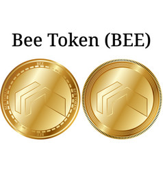 Set of physical golden coin bee token bee vector
