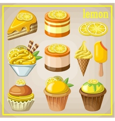 Set of sweets with lemon vector