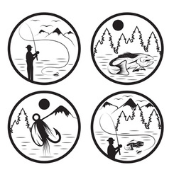 Set of vintage labels with fishing theme vector
