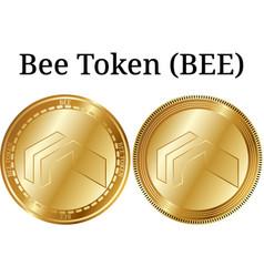 Set physical golden coin bee token bee vector