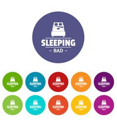 Sleeping bad icons set color vector