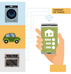 smart home and internet things concept man vector image