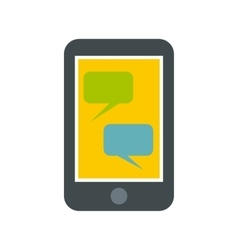 Speech bubble on phone icon flat style vector image