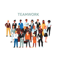 teamwork banner with multi ethnic business team vector image
