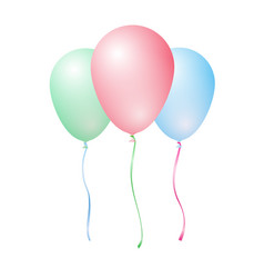 three color inflatable balloons - red green blue vector image