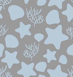 Underwater world seamless pattern silhouettes of vector