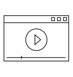 video play icon outline style vector image