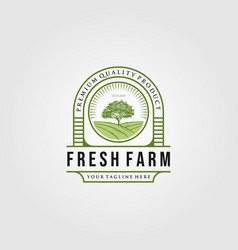 Vintage fresh farm with tree logo designs vector
