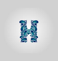 Water splash letter h logo icon droplets vector